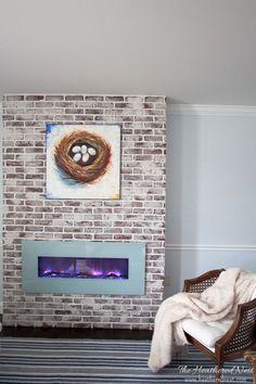 Excellent Snap Shots chicago Brick Fireplace Ideas A brick fireplace can be a go. Excellent Snap Shots chicago Brick Fireplace Ideas A brick fireplace can be a go. Fireplace Mortar, White Wash Brick Fireplace, Brick Fireplace Makeover, Faux Fireplace, Fireplace Ideas, Fireplaces, Basement Fireplace, Faux Brick Panels, Brick Paneling