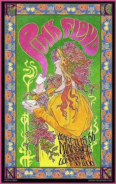 Concert poster for Pink Floyd commemorating the 1966 Mad Hatter's Tea Party concert in London. 14.5 x 23 on card stock. Art by legendary poster designer Bob Masse.