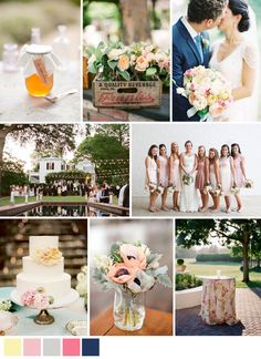 #inspiration #board for a backyard garden party #wedding in soft pastels and navy