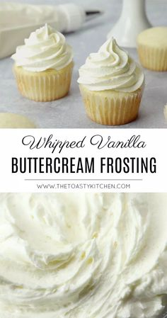This is the best Vanilla Buttercream Frosting recipe. Make this easy buttercream frosting recipe and you'll never want cake without vanilla buttercream again. Or eat it with spoons. Whipped Buttercream Frosting, Vanilla Frosting Recipes, Butter Cream Icing Recipe, Almond Frosting, Butter Frosting, Cupcake Icing Recipes, Homemade Cupcake Icing, Cool Whip Icing Recipe, Cake Topper Banner