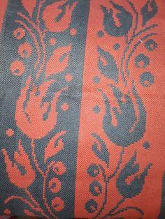 Nojatuolin matto täkänätekniikalla 2 kpl , tulppaani , 1950 luvulta