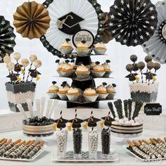 Black, Silver & Gold Gradutation Sweets Table Idea