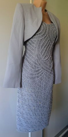Pretty #ladies #party wedding grey silver sequins dress suit size #10/12?,  View more on the LINK: http://www.zeppy.io/product/gb/2/252705822852/