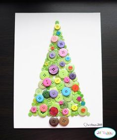 This beautiful Button Christmas Tree craft is so merry and bright! Make this easy kids' Christmas craft with your tots for a simple way to celebrate the holidays.