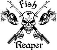 Fish Reaper Skull Fishing Rod Reel Car Boat Truck Window Vinyl Decal Sticker