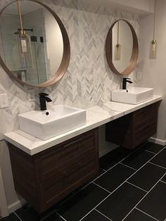 Obsessing over the rich complexity of this bathroom design and the white, wall tile design - Hampton Carrara Polished Chevron Marble Mosaic Tile