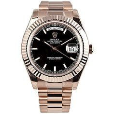 Rolex Day-Date II 41 President Everose Gold Watch Black Dial 218235 *** Find out more about the great product at the image link.