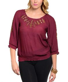 Look what I found on #zulily! Wine & Gold Peasant Top - Plus #zulilyfinds