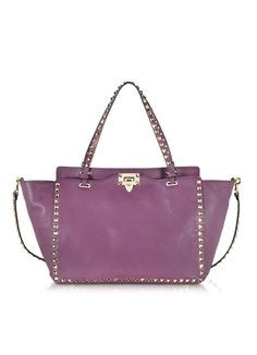 Valentino Rockstud Aubergine Medium Leather Tote - so expensive but lovely eggplant color