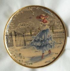 LOVELY LADY WALKING IN SNOW TRANSFER  JASPERWARE BUTTON SATSUMA TYPE GLAZING