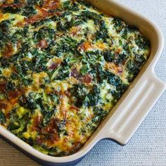 Kale, Bacon, and Cheese Breakfast Casserole Recipe; it doesn't take much bacon to make this taste amazing! [from KalynsKitchen.com] #LowCarb #GlutenFree #Bacon