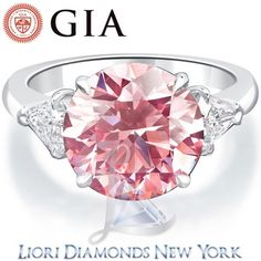 5.83 Carat GIA Certified Fancy Intense Pink Diamond Engagement Ring in Platinum - Pink Diamond Rings - Color Rings - Lioridiamonds.com
