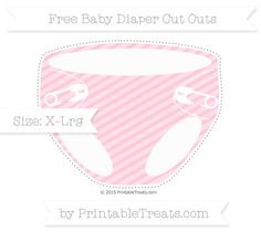 Pink Diagonal Striped  Extra Large Baby Diaper Cut Outs