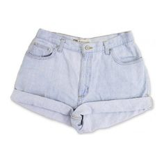 Vintage 90er Jahre Faded Glory taillierte Hochhaus Licht blau Wash... ($30) ❤ liked on Polyvore featuring shorts, bottoms, denim shorts, vintage denim shorts, vintage jean shorts, vintage shorts and short jean shorts