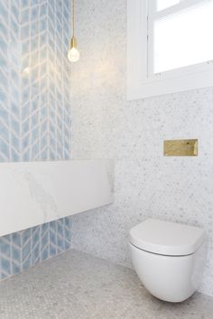 Three Birds Renovations on being creative with tiles - The Interiors Addict Mold In Bathroom, Bathroom Renos, Bathroom Renovations, Home Renovation, Small Bathroom, Bathroom Hacks, Bathroom Ideas, Blue Bathroom Tiles, Bathroom Feature Wall