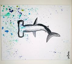Hammerhead shark painting - Hey, I found this really awesome Etsy listing at https://www.etsy.com/listing/187708699/splattered-hammerhead-20-x-16-painting