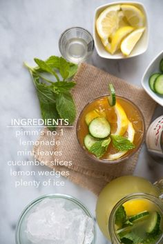 Summer Pimm's Cup with cucumber mint lemonade