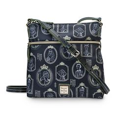[Picture perfect]Carry along the remains of the day in this leather-trimmed Crossbody Bag by Dooney & Bourke, made of silky nylon fabric, and featuring a grim grinning portrait gallery inspired by Disney's The Haunted Mansion.
