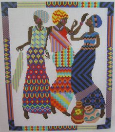 0 point de croix -femmes africaines multicolores  cross stitch colourful african women
