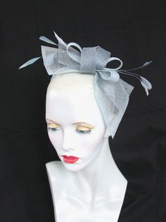 Pale powder blue and grey blue sinamay and feather by SHMillinery