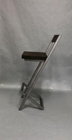 X-style bar stool with backrest. Modern bar stool by AlexMetalArt Welded Furniture, Iron Furniture, Steel Furniture, Industrial Furniture, Custom Furniture, Furniture Design, Furniture Ideas, Cool Bar Stools, Bar Stools With Backs