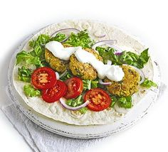 Spiced lamb and chickpea patties with yoghurt, coriander and salad make the perfect filling for flatbread. Chickpea Fritters, Chickpea Patties, Bbc Good Food Recipes, Cooking Recipes, Healthy Recipes, Healthy Food, Budget Recipes, Budget Meals, Wrap Recipes