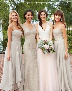 One of our favorite styled looks takes #Allure #Romance 2716 and mixes in #neutrals for an understated, chic vibe. #bridesmaids #weddinginspiration