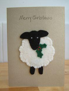 Christmas Card  Festive Sheep  Yule  Merry by MichelleGood on Etsy