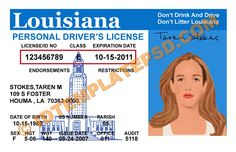 This is Louisiana (USA State) Drivers License PSD (Photoshop) Template. On this PSD Template you can put any Name, Address, License No. DOB etc and make your personalized Driver License.  You can also print this Louisiana (USA State) Drivers License from a professional plastic ID Card Printer and use as per your requirement.