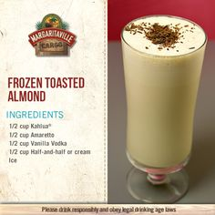 For a sweet holiday treat, try our Frozen Toasted Almond. Good with breakfast, lunch, dinner, or dessert! Cocktail Drinks, Fun Drinks, Yummy Drinks, Liquor Drinks, Mixed Drinks, Cocktail Ideas, Party Drinks, Yummy Food, Christmas Drinks