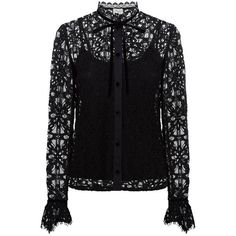 Temperley London Eclipse Lace Shirt ($485) ❤ liked on Polyvore featuring tops, black, button downs, slim shirt, lace shirt, neck ties, lace button up shirt and lacy top
