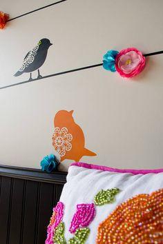 Sweet Tweets Bird stencils (large)....just hanging out!  #stencils #lace #bird stencil Fun and colorful baby nursery decor or kids room wall decor