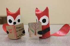 Paper Tube Foxes Reading 1 by ThatGirlCanBake, via Flickr