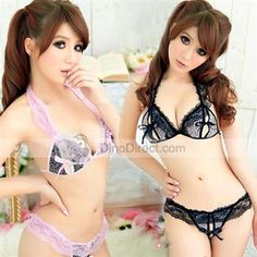 Midnight™ Sexy Leopard Lace Trim Women Bra Set 2Pcs