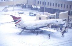 British Airways BAC-111 G-BBMG being deiced at Birmingham, February 1985.