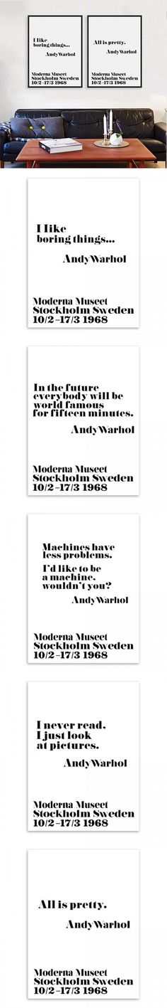 Modern Nordic Black White Minimalist Typography Andy Warhol Life Quotes Art Print Poster Wall Picture Canvas Painting Home Decor $2
