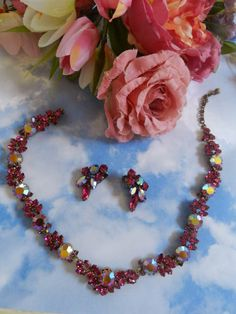 Vintage Parures @ Ruby Lane - Fabulous Austrian Vintage Fuchsia Necklace and Earrings