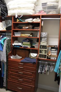 Traditional closet drawers and shelves