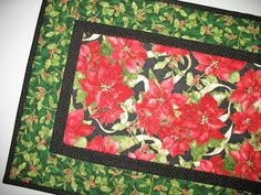 Christmas Table Runner Poinsettias Holly and by PicketFenceFabric, $39.00