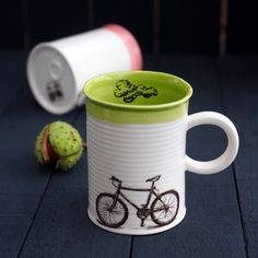 Ceramic Mug, Tea Set, Can Mug, New House Gift, Bicycle Mug, Painted Cup, Funny Mug, Sports Cup, Colorful Cup Set, Painted Porcelain