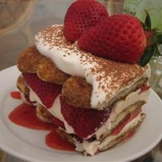 "Strawberry Tiramisu for Two | ""Made this recipe for my wife on Valentine's Day and we both loved it, especially the strawberry sauce. Good recipe."" -Justin http://allrecipes.com/recipe/strawberry-tiramisu-for-two/Detail.aspx"