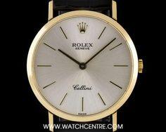 Rolex 18k Yellow Gold Silver Baton Dial Cellini Gents Wristwatch 4112 Rolex Cellini, Used Rolex, Patek Philippe, Rolex Watches, Clock, Yellow, Silver, Gold, Clocks