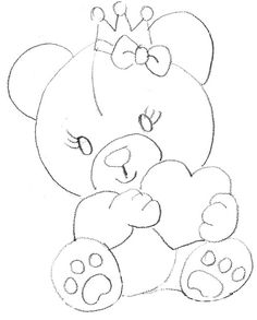 40 Creative Drawing Ideas and Topics for Kids Easy Drawings Sketches, Pencil Art Drawings, Disney Drawings, Cute Drawings, Bear Drawing, Drawing For Kids, Drawing Ideas, Drawing Drawing, Applique Patterns