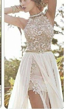 romantic high neck lace beaded chiffon high low white prom dress on Chiq $158.40 http://www.chiq.com/romantic-high-neck-lace-beaded-chiffon-high-low-white-prom-dress