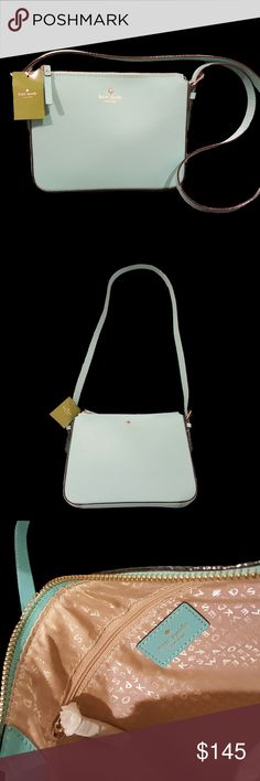 """Kate Spade Charlotte Street Irini Crossbody NWT Brand new with tags Kate Spade Charlotte Street Irini crossbody bag Zippered closure Gold printed signature with spade stud Adjustable strap with buckles, approx. 9"""" strap drop Measurements: approx 17.5"""" L x 12"""" H x 5.5"""" D Color/Pattern: Givernyble (robin egg blue) cross hatched thick leather with matching trim, beige signature print fabric interior, and gold tone hardware Interior includes 1 slip pocket and 1 zippered pocket Condition: NWT…"""