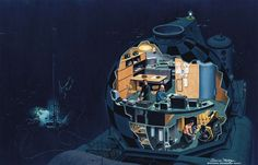Davis Paul Meltzer- Conshelf III Submersible (National Geographic, April 1966). http://www.messynessychic.com/2013/05/27/remains-of-an-underwater-habitat-left-by-1960s-sea-dwellers/