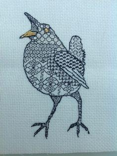 Singing wren: Blackwork embroidery