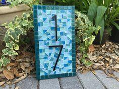 Mosaic House Number Sign Teal Aqua Blue Beach House Address