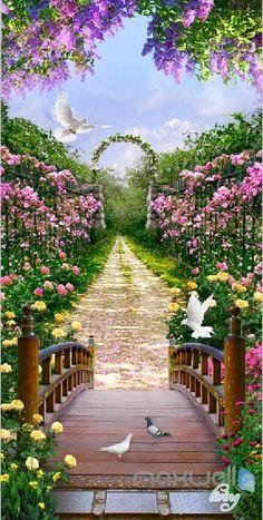3D Flowers Garden Bridge Arch Corridor Entrance Wall Mural Decals Art Print Wallpaper 067