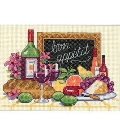 Finished Size: 7inches x 5inches Counted Cross Stitch Designed By Dimensions This delectable spread is sure to please the palate. Stitched on 14 count ivory Aida with cotton thread, this luscious desi